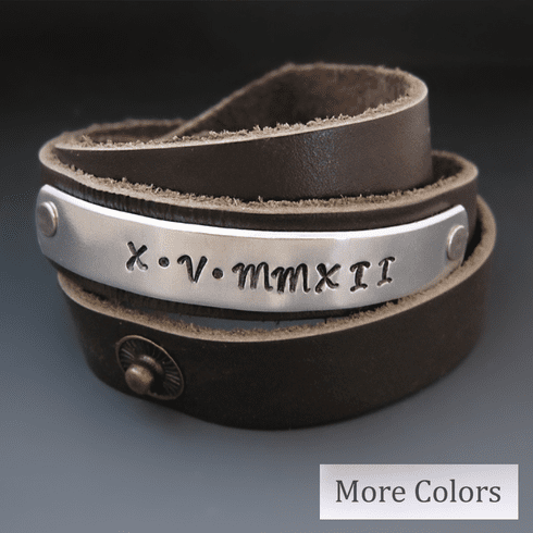"Personalized Leather Wrap Bracelet {1/2"" wide}"