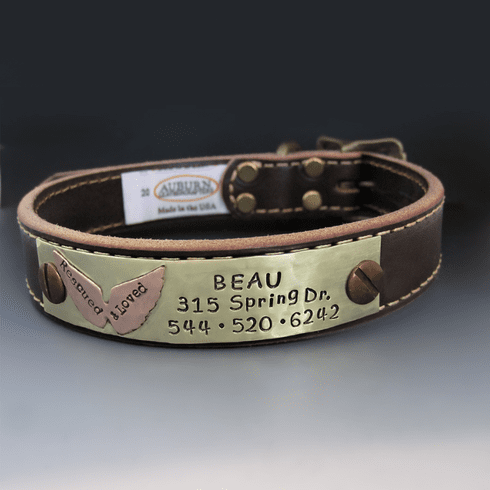 Personalized Rescue Dog Leather Collar {Angel Wings}