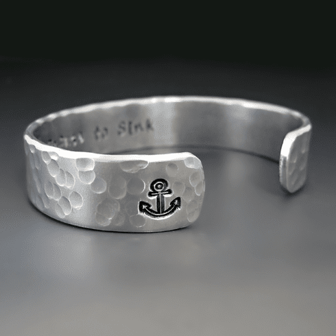 Personalized Silver Anchor Bracelet
