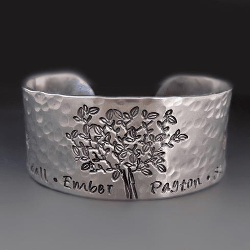 Personalized Silver <br>Family Tree Bracelet