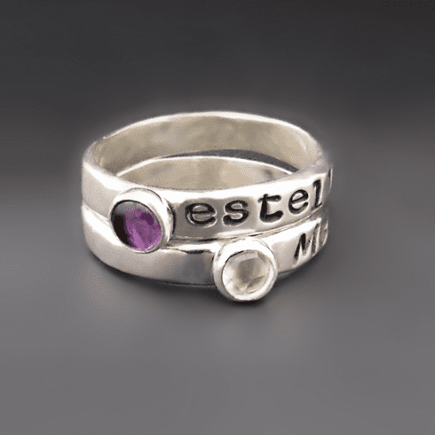 Personalized Birthstone <br> Stacking Name Ring