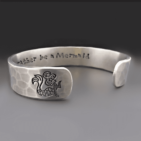 Personalized Silver Mermaid Bracelet