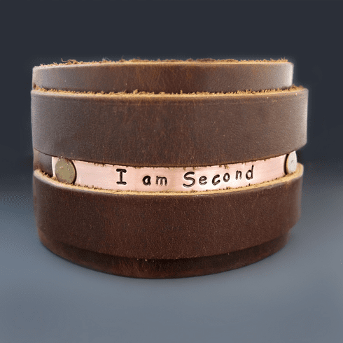 Personalized Wide Copper & <br>Leather Bracelet