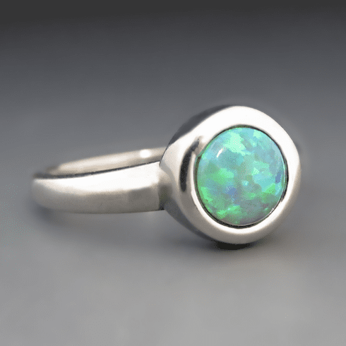 Silver Green Gemstone Opal Stacking Ring - Bezel Setting