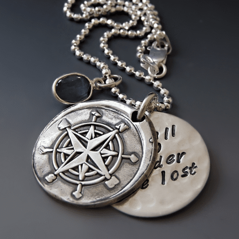 Silver Not All Who Wander Are Lost Compass Necklace