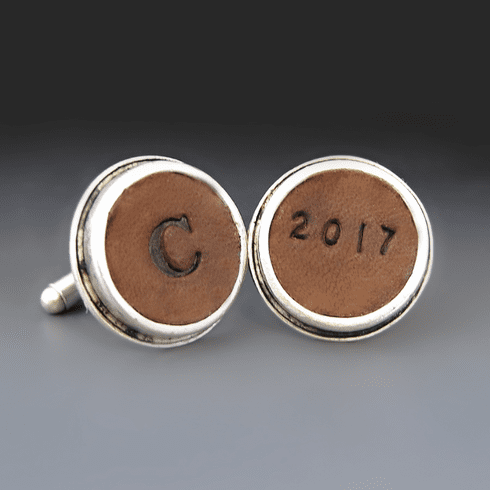 Silver Personalized Embossed <br>Leather  Cufflinks