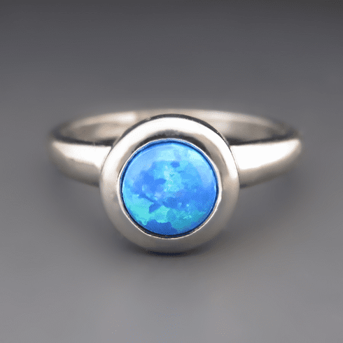 Silver Synthetic Blue Opal Stacking Ring