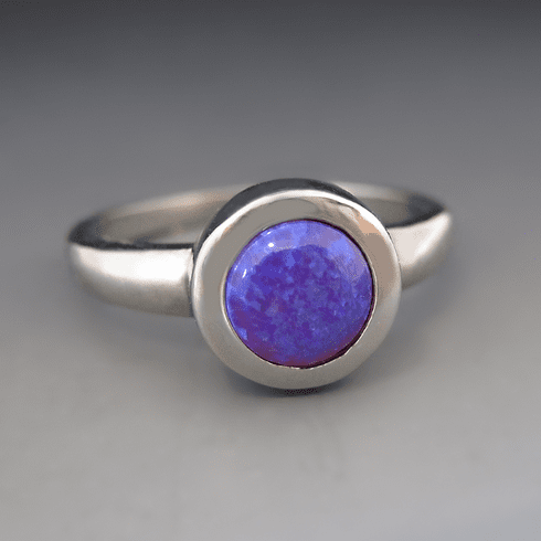Silver Synthetic Purple Opal Stacking Ring {Out of Stock}