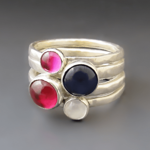 Silver Birthstone Stacking Rings