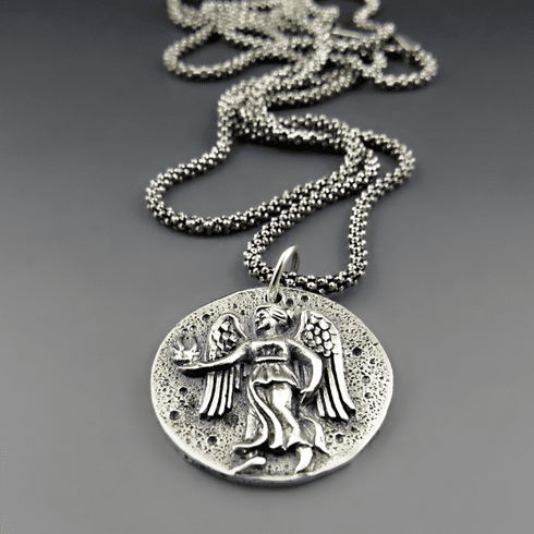 Sterling Silver Guardian Angel / Roman Goddess Coin Necklace