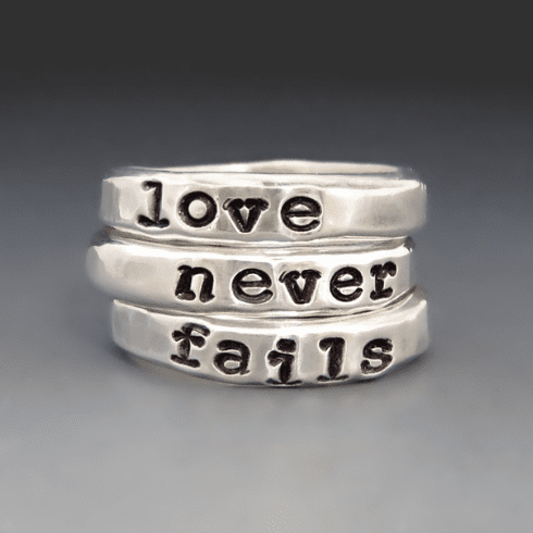 Sterling Silver Love Never Fails <br>Stacking Rings
