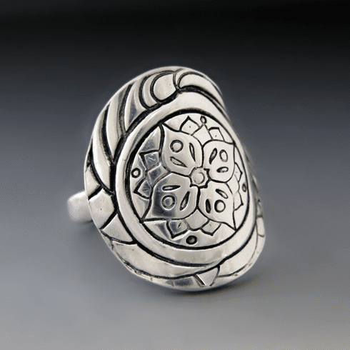 Sterling Silver Mandala Statement Ring
