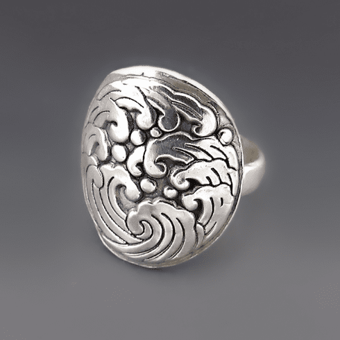 Sterling Silver Ocean Wave Statement Ring