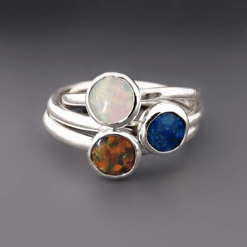Sterling Silver Opal Rings<br> {Blue, Red, White, Pink}