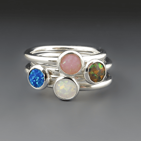 Sterling Silver Opal Rings {Blue, Red, White, Pink}