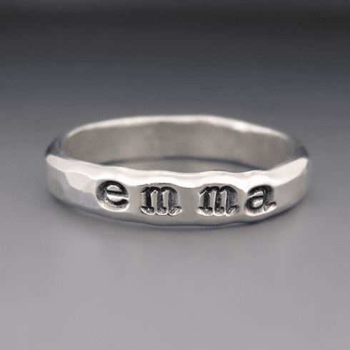 Personalized Hand Stamped<br>Name Ring