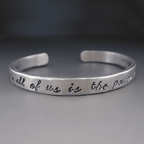 "Thin Personalized Silver Hand <br>Stamped Bracelet {1/4"" wide}"