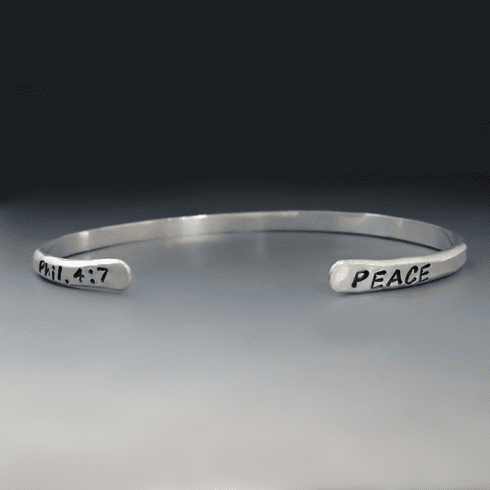 Two Sided Personalization / Thin Silver Stacking Bracelet