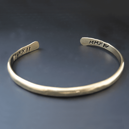 Two Sided Personalized Gold Brass Stacking Bracelet