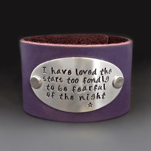 Wide Personalized Leather <br> Cuff Bracelet { 1.5 inches }
