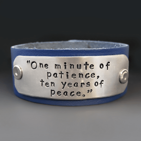 Personalized 1 Inch Wide Leather Bracelet