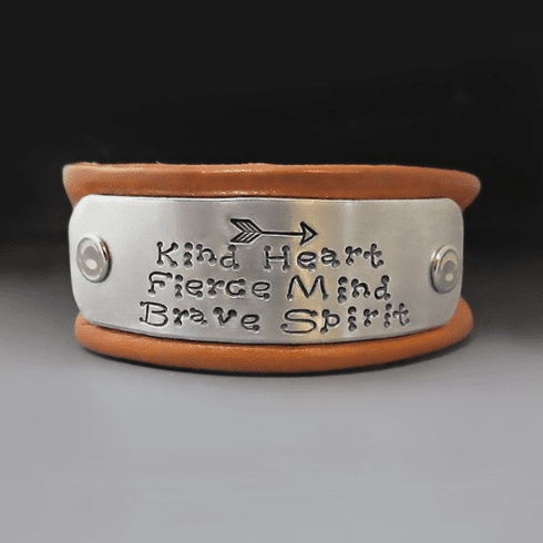 Women's 1 inch wide Personalized Leather Bracelet {Buckle Clasp}