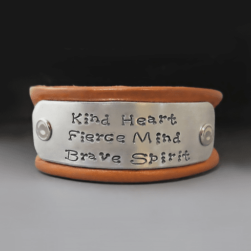 Women's 1 inch wide Personalized<br> Leather Bracelet {Buckle Clasp}
