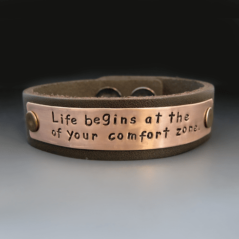 Women's Personalized Copper & <br>Leather Bracelet {3/4 inch Wide}