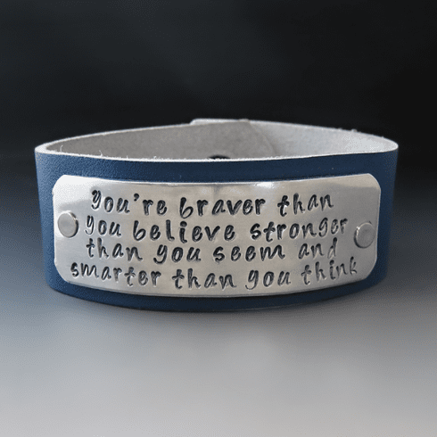 You're Braver Than You Believe Leather Bracelet