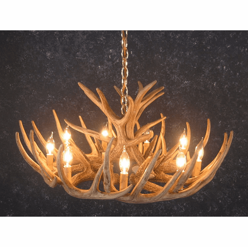 12 Antler Whitetail Deer Cascade Chandelier -- Great Room Lighting