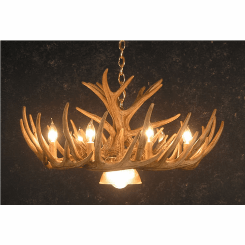 12 Faux Antler Deer Chandelier - Log Home Lighting