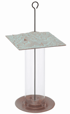 12 inches Cardinal Tube Feeder - Copper Verdigris