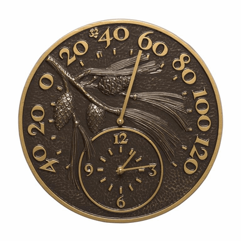 14 inches Pinecone Clock And Thermometer - French Bronze