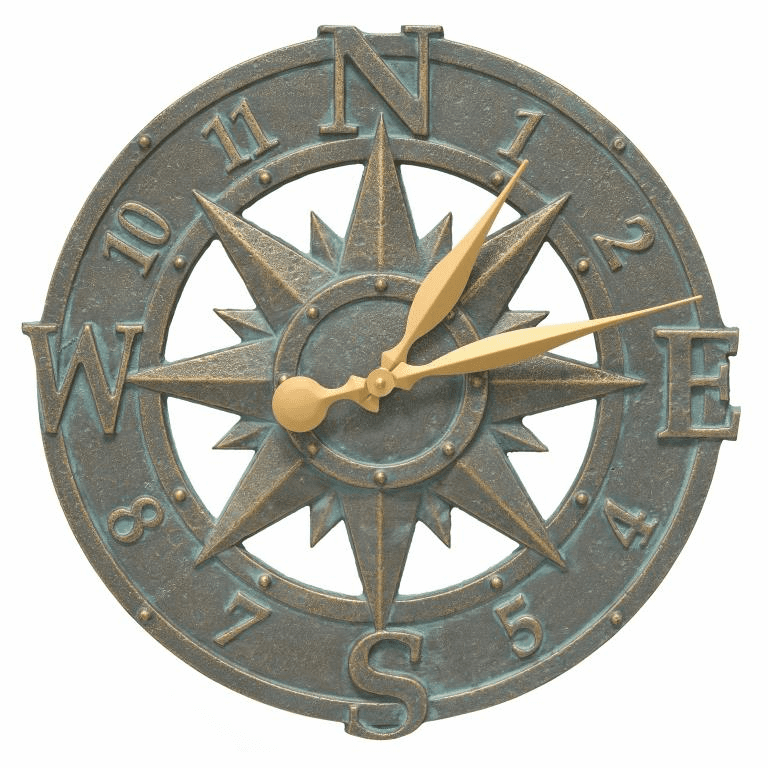 16 inches Compass Rose Clock in Bronze Verdigris