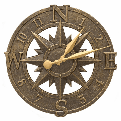 16 inches Compass Rose Clock in French Bronze