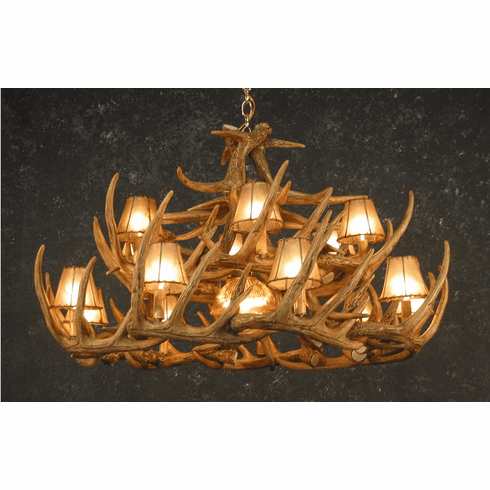 30 Antler Chandelier with Cneter Light & Shades - Deer Decor