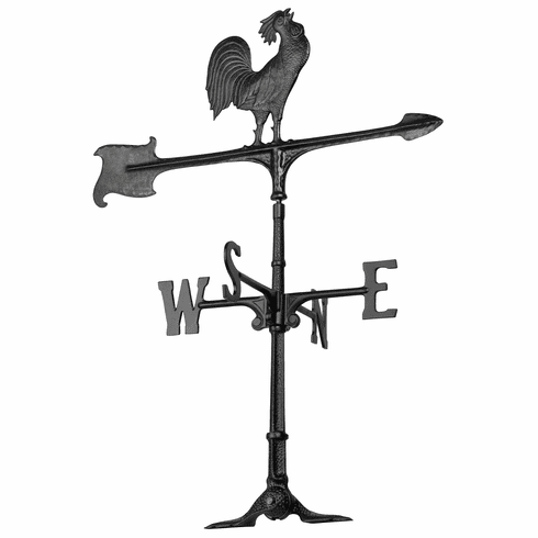 30 inches Rooster Accent Weathervane - Black