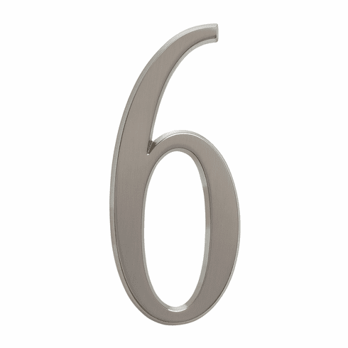 4.75 inches Number 6 Brushed Nickel