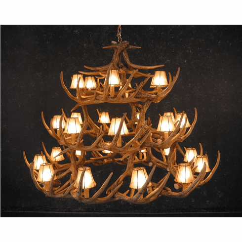 42 Faux Antler Chandelier w/Rawhide Shades - Western Lighting