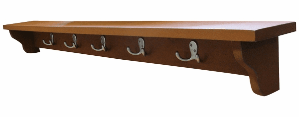 48 Inch Wall Shelf with Five Hooks - Hanging Shelf