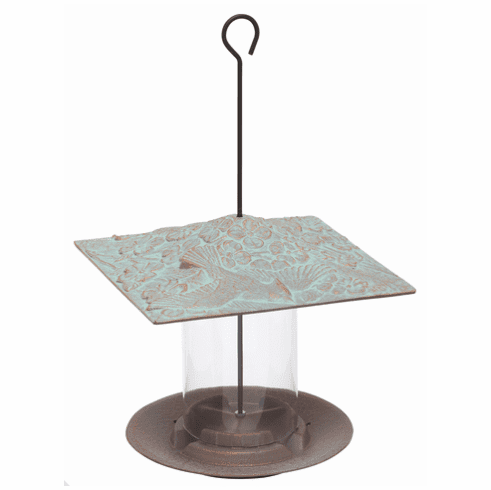 6 inches Cardinal Tube Feeder - Copper Verdigris