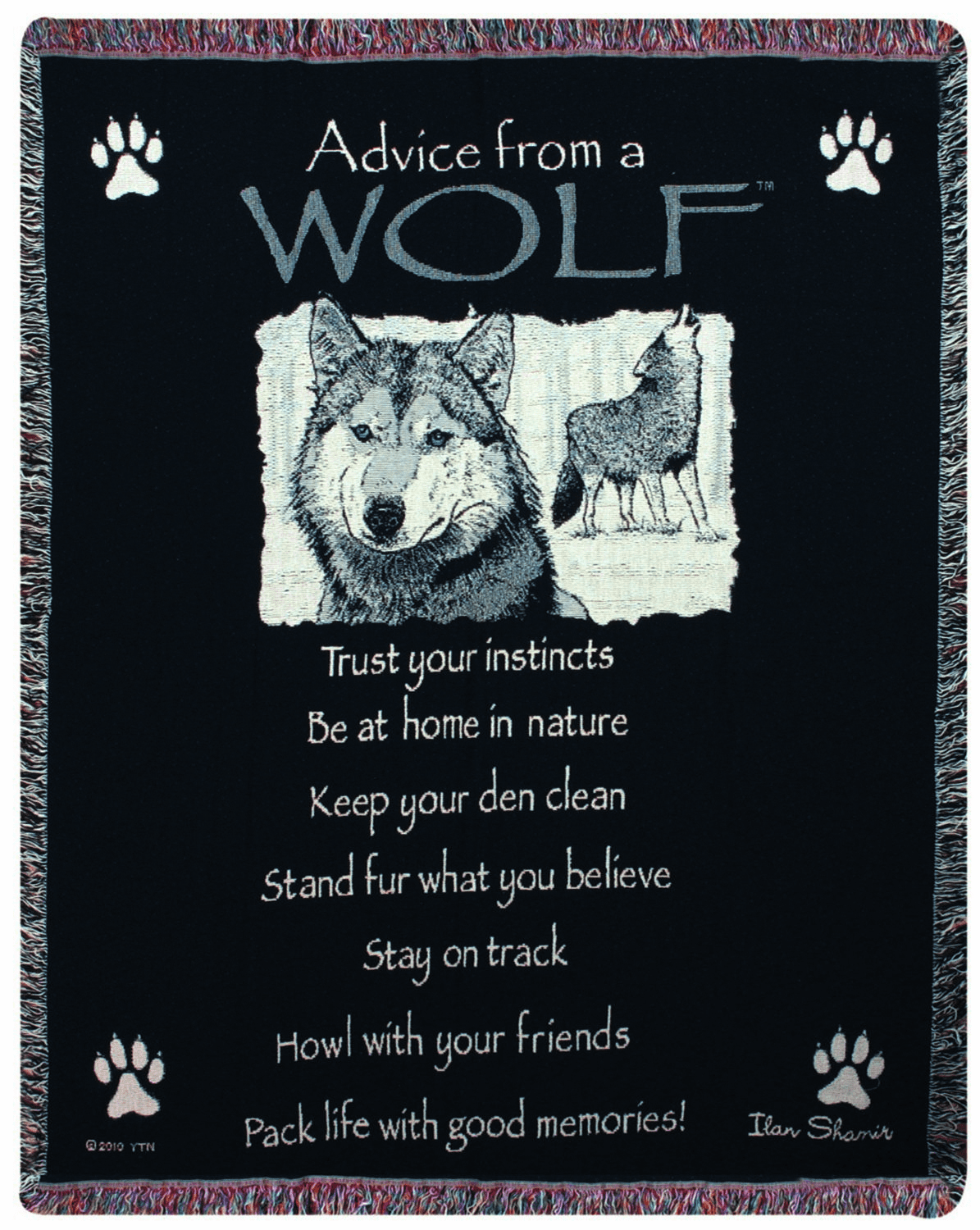 Advice From A Wolf Tapestry Throw
