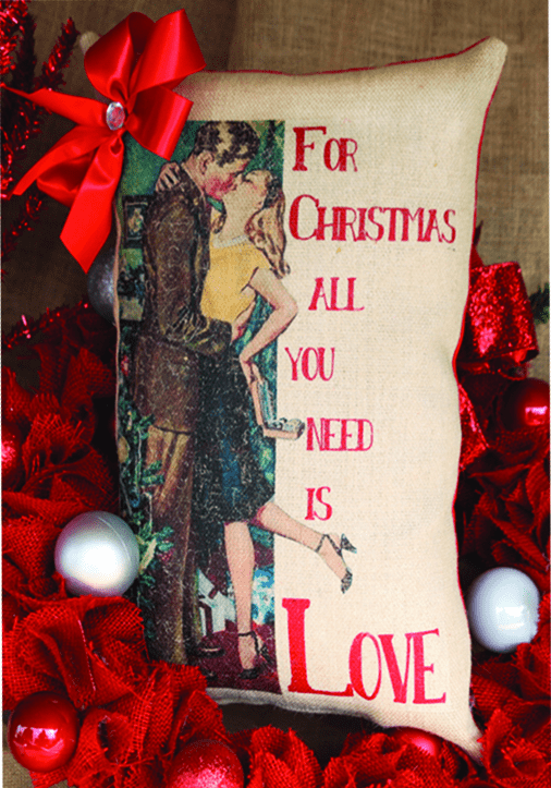 All You Need is Love Merry Christmas Ribboned Pillow, Set of 2, 8in x 17in