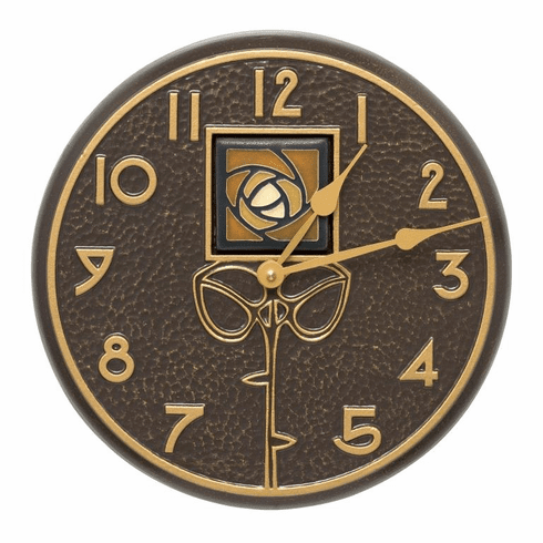 Amber Dard Hunter Rose 12 inches Indoor Outdoor Wall Clock - French Bronze