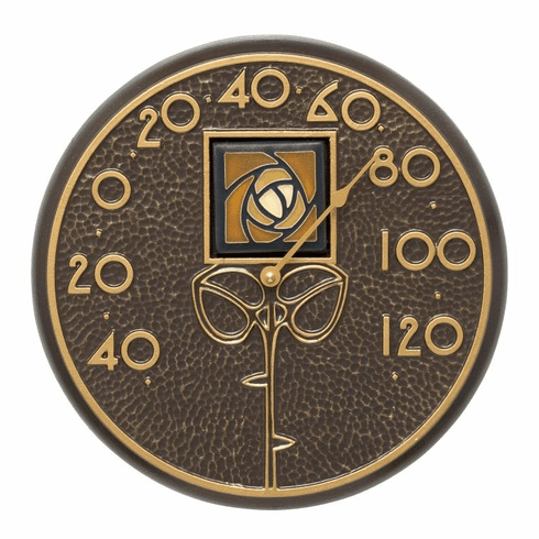 Amber Dard Hunter Rose 12 inches Indoor Outdoor Wall Thermometer - French Bronze