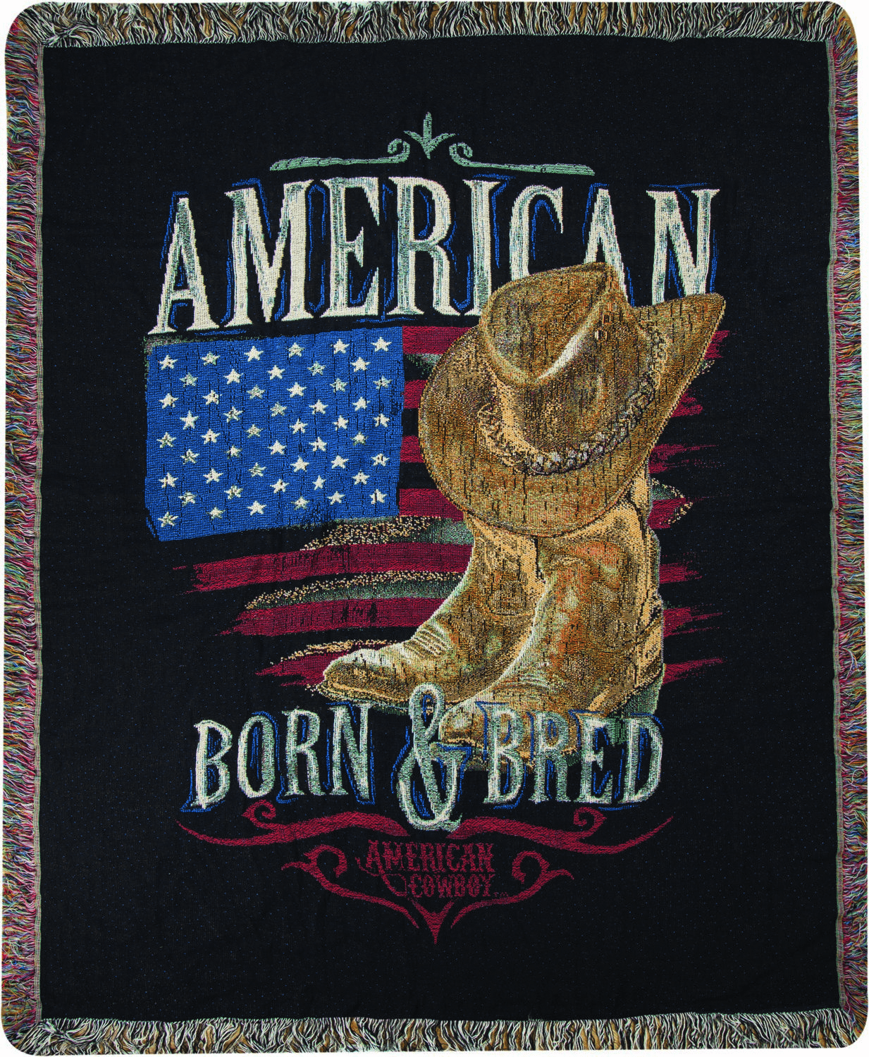 American Cowboy Tapestry Throw