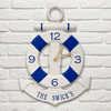 Anchor & Buoy Personalized Indoor Outdoor Wall Clock - White and Navy