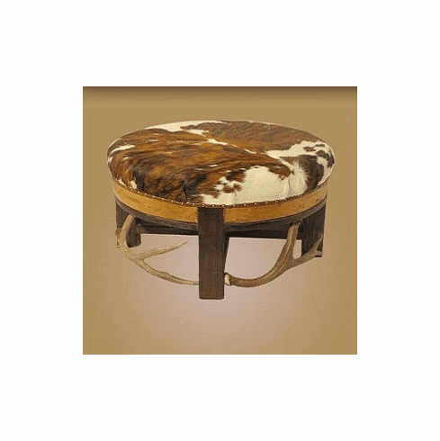 Antler Ottoman with Cowhide