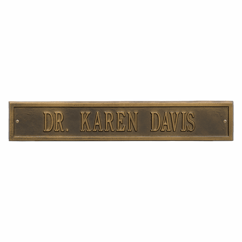 Arch Extension Estate Wall One Line Plaque in Antique Brass