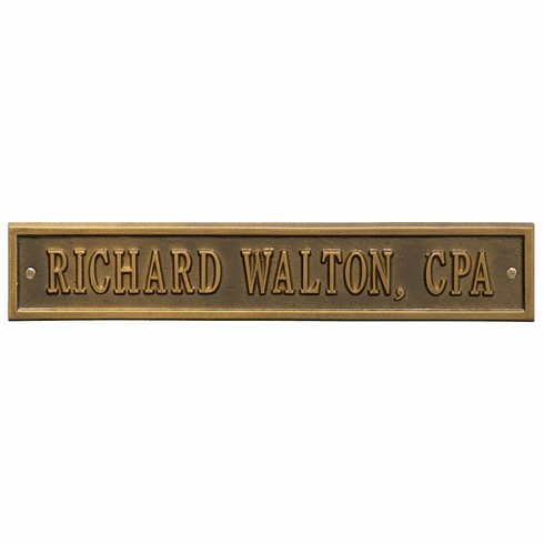 Arch Extension Standard Wall One Line Plaque in Antique Brass
